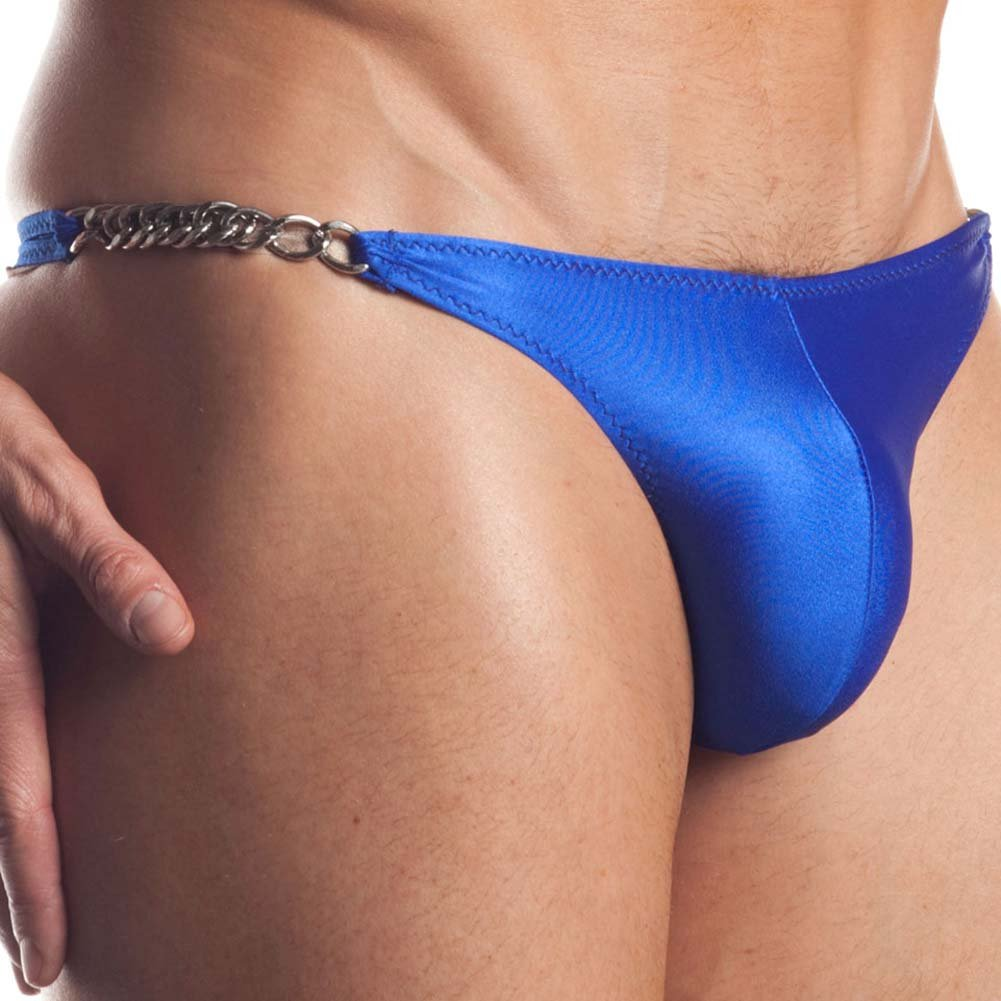 Extreme Series Chain Link Thong One Size Blue - View #3