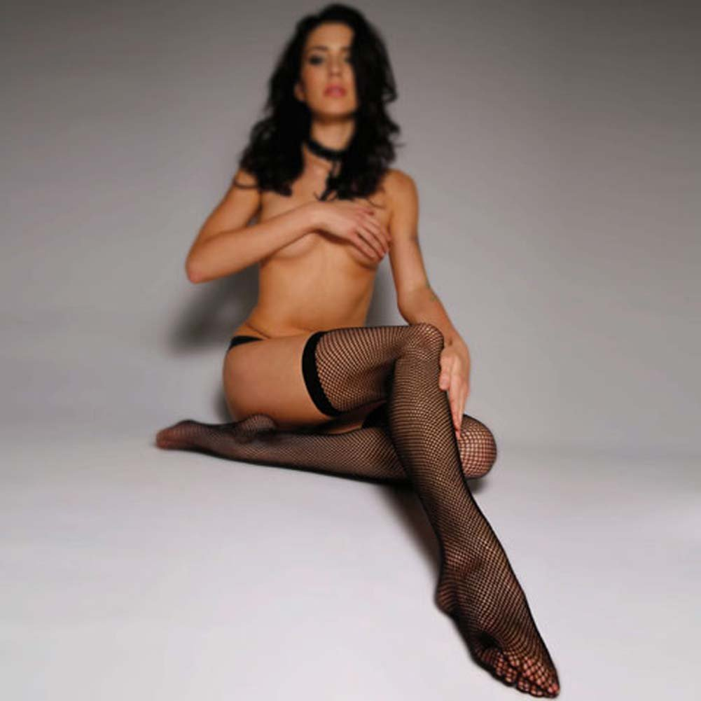 Basic Thigh High Fishnet Stockings with Band Black - View #3