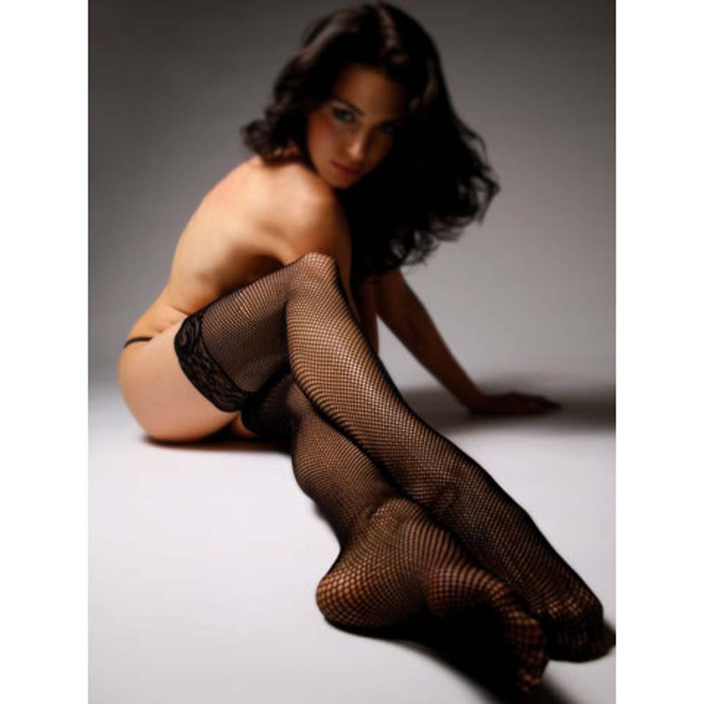 Luxe Thigh High Fishnet Stockings with Lace Top Black - View #2