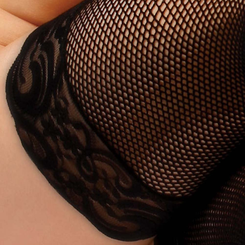 Luxe Thigh High Fishnet Stockings with Lace Top Black - View #4