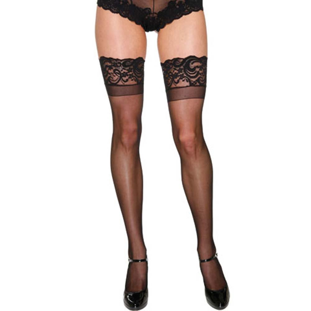 Lavish Lace Top Sheer Thigh High Stockings Black - View #1