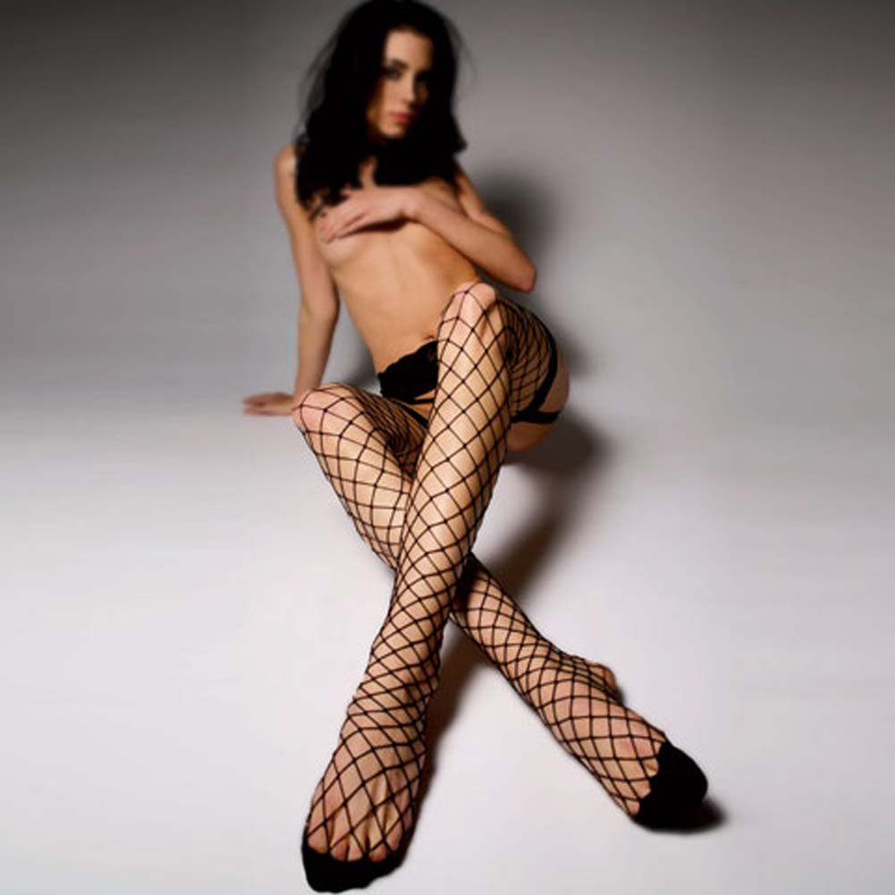 Lush Lace Garter Belt and Net Stockings Blend Black - View #3