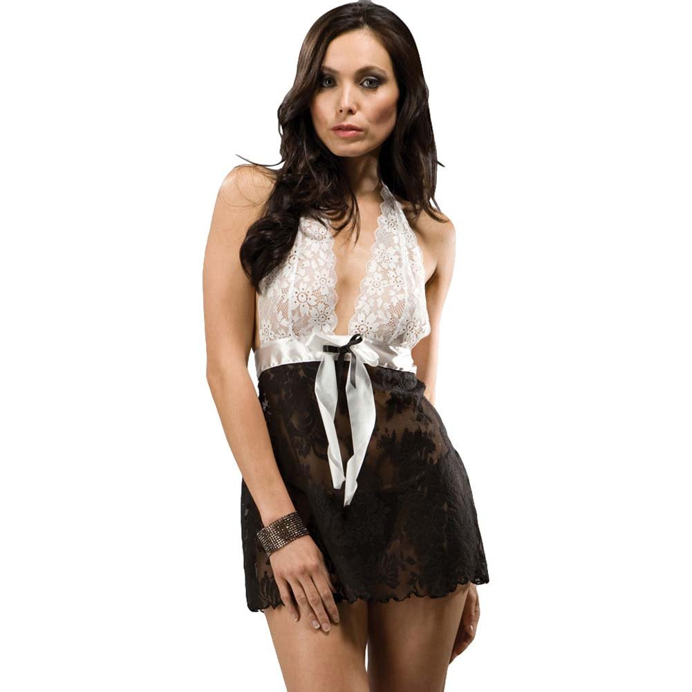 Love Me Knot Seductive Halter Lingerie Set One Size Black and White - View #1