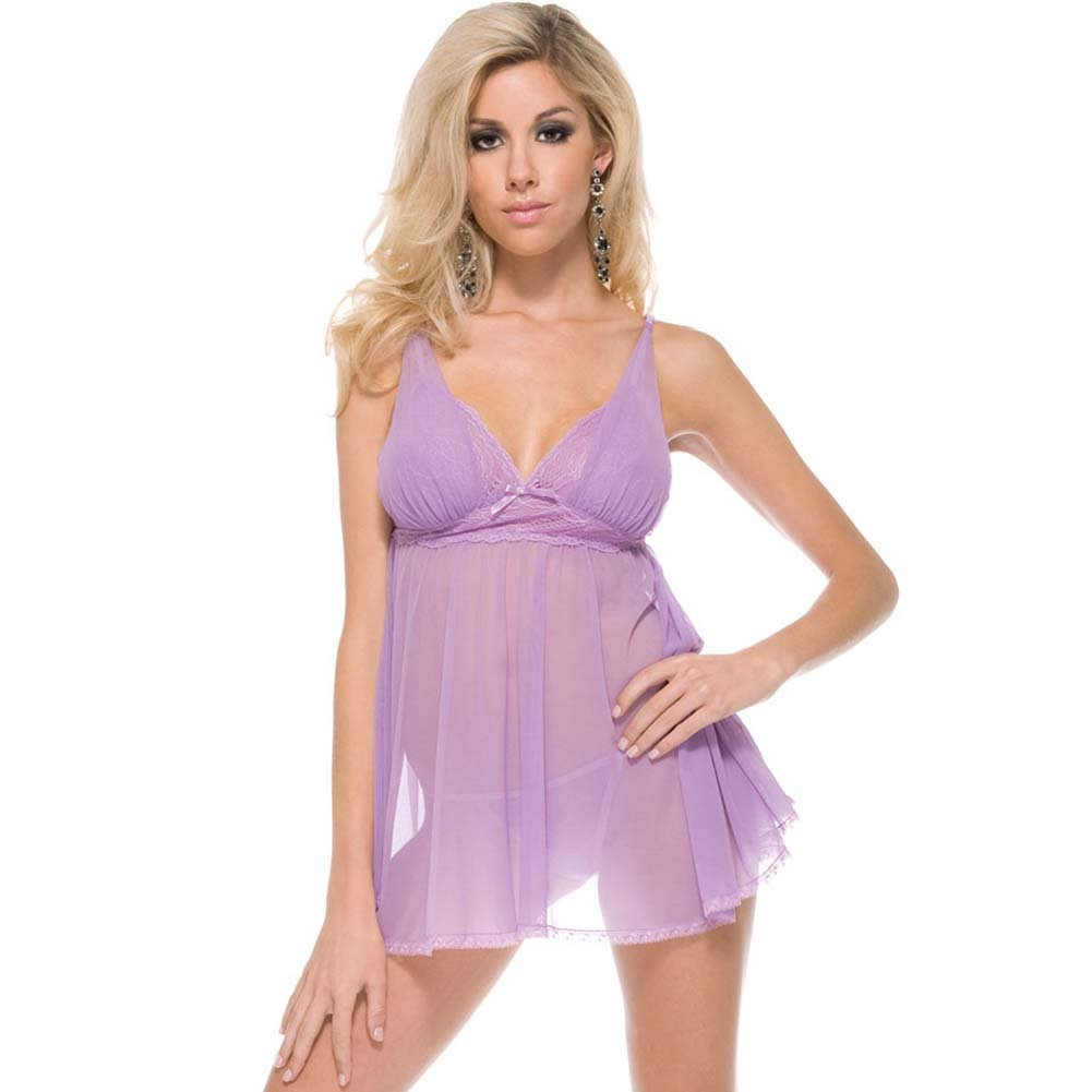 Seductive Sheer Babydoll and Panty Sexy Lingerie Set One Size Lilac - View #1