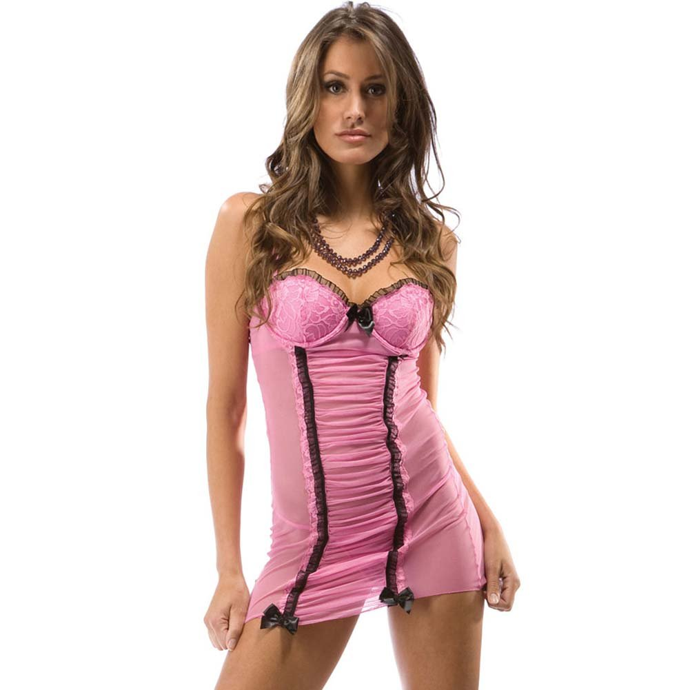 Love Me Mesh and Ruched Chemise with Thong Baby Pink - View #1