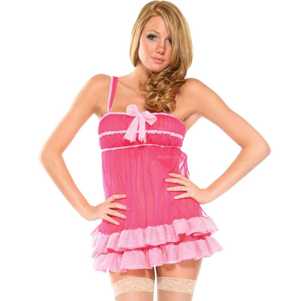 Forplay Shag Babydoll Lingerie and Panty Set One Size Hot Pink - View #1