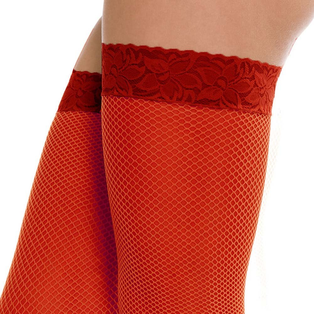 Forplay Luxe Thigh High Fishnet Stockings with Lace Top One Size Red - View #2