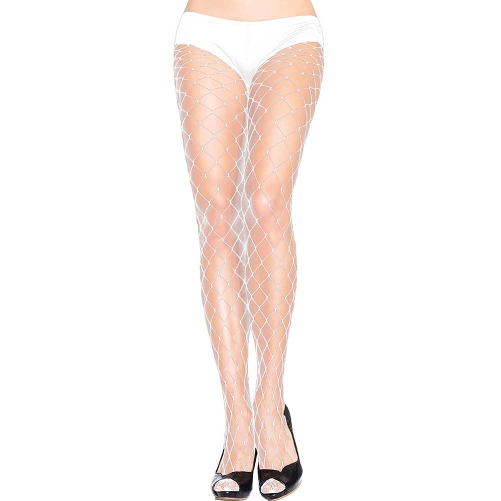 Forplay Fashionable Fence Net Pantyhose One Size Bridal White - View #1