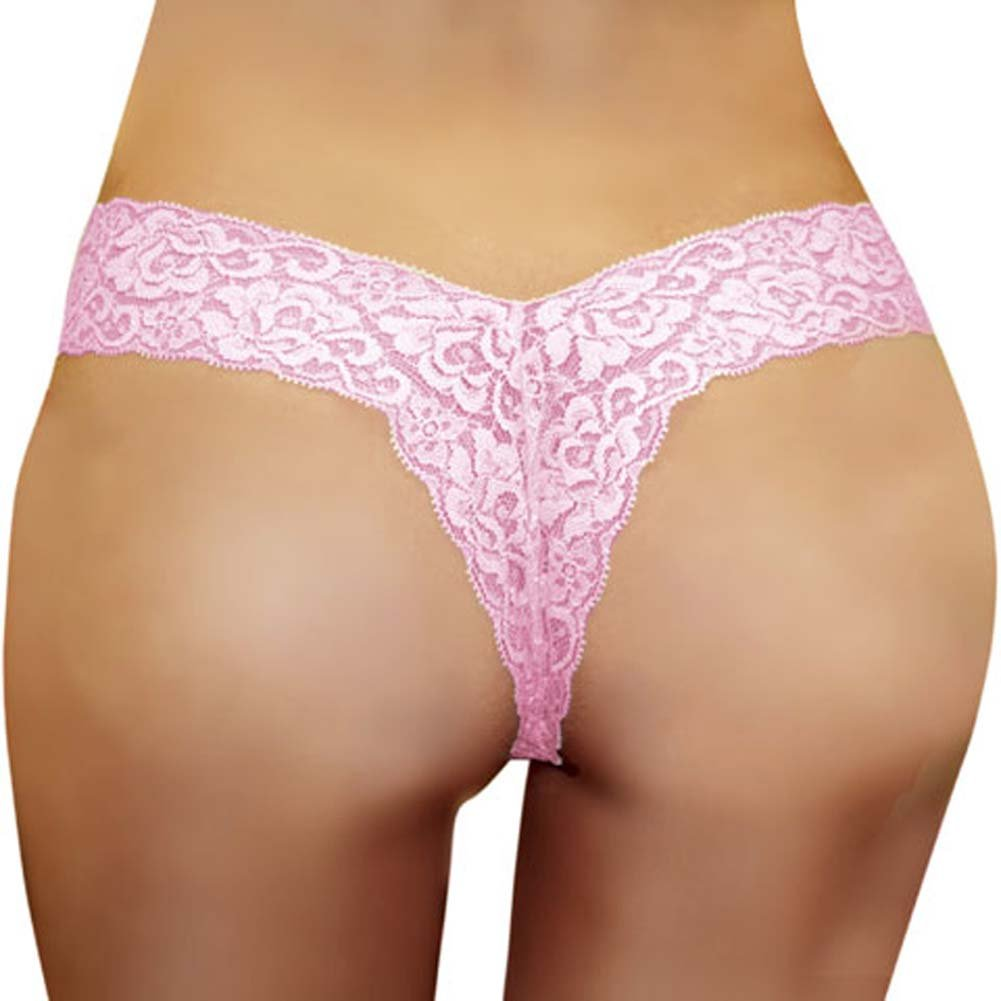 Super Low Rise Lace V Thong Baby Pink Size Large - View #1