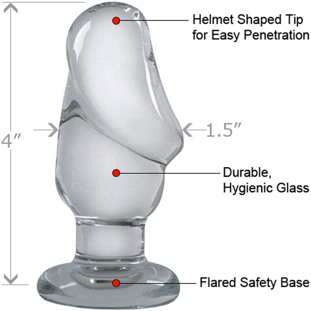 "Cocky Boys Helmet Head Large Glass Butt Plug 4"" Clear - View #1"