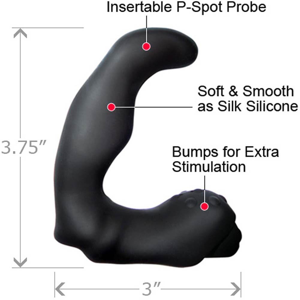 Velvet Plush Vibrating Silicone Anal Prostate Mini Probe Black - View #1