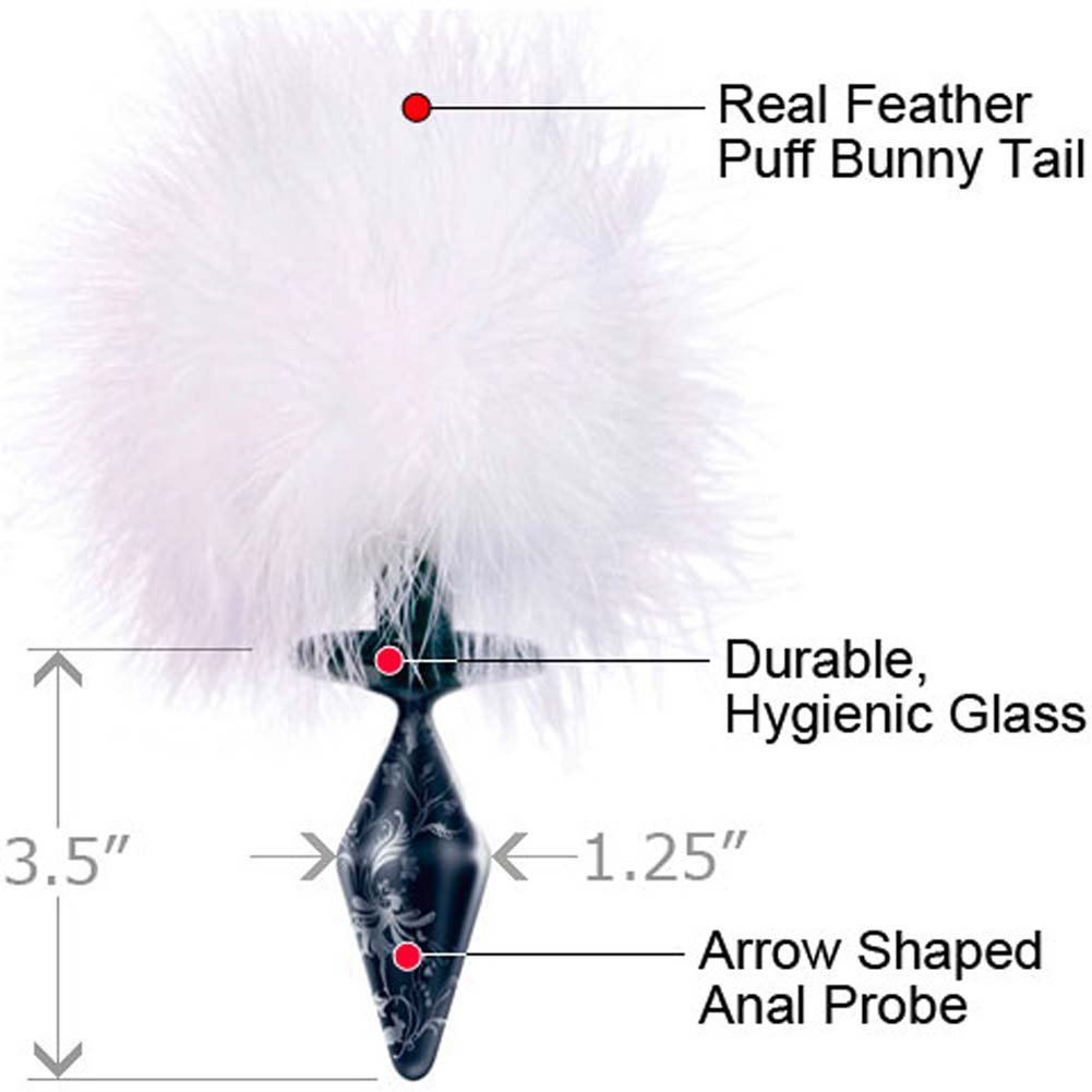 Fashionistas Black Glass Bunny Tail Butt Plug Small - View #1