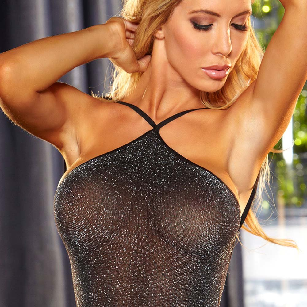 Lapdance Lingerie VIP Shimmering Mini Dress One Size Black Metallic - View #3