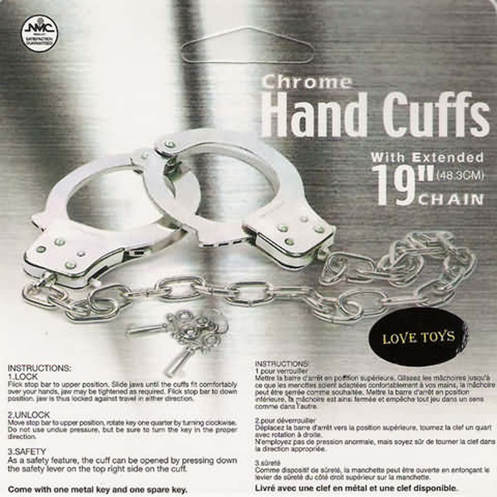 "Chrome Hand Cuffs with Extended Chain 19"" - View #2"