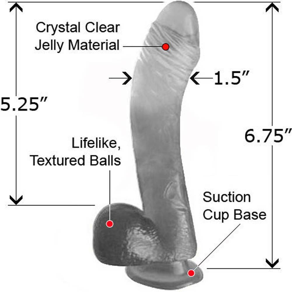 "Jelly Krystals Lazy ButtCock with Balls 6.5"" Clear - View #1"