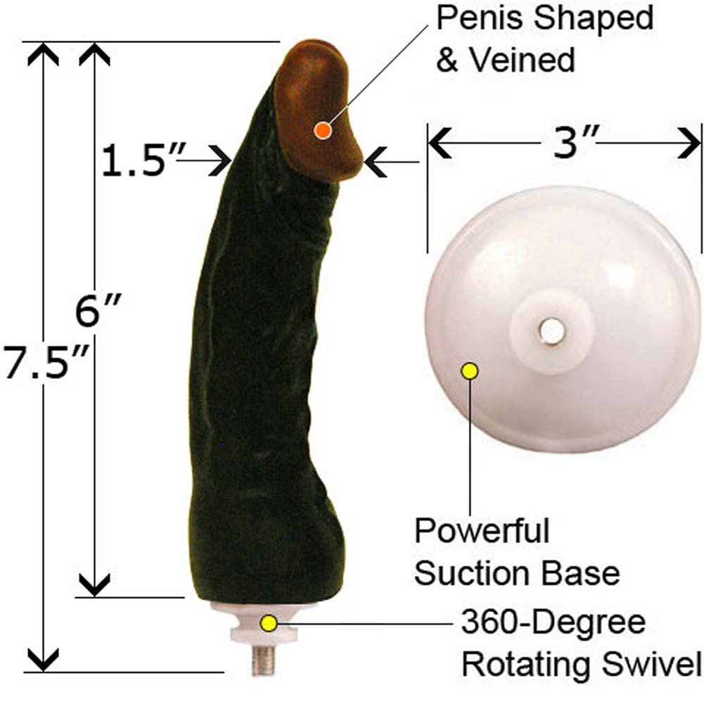 "Zola Realistic Rota Cock with Suction Cap 6"" Ebony - View #1"