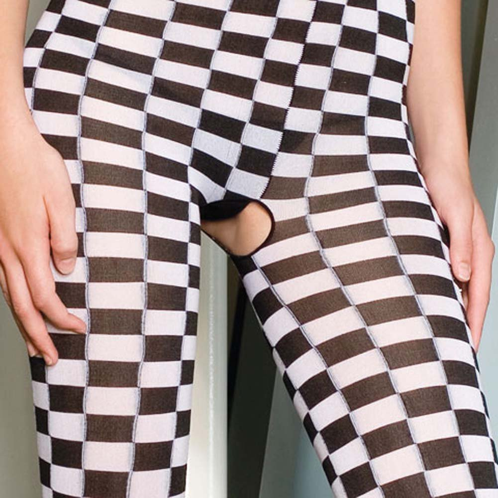 Checker Bodystocking with Spaghetti Straps Black and White - View #4