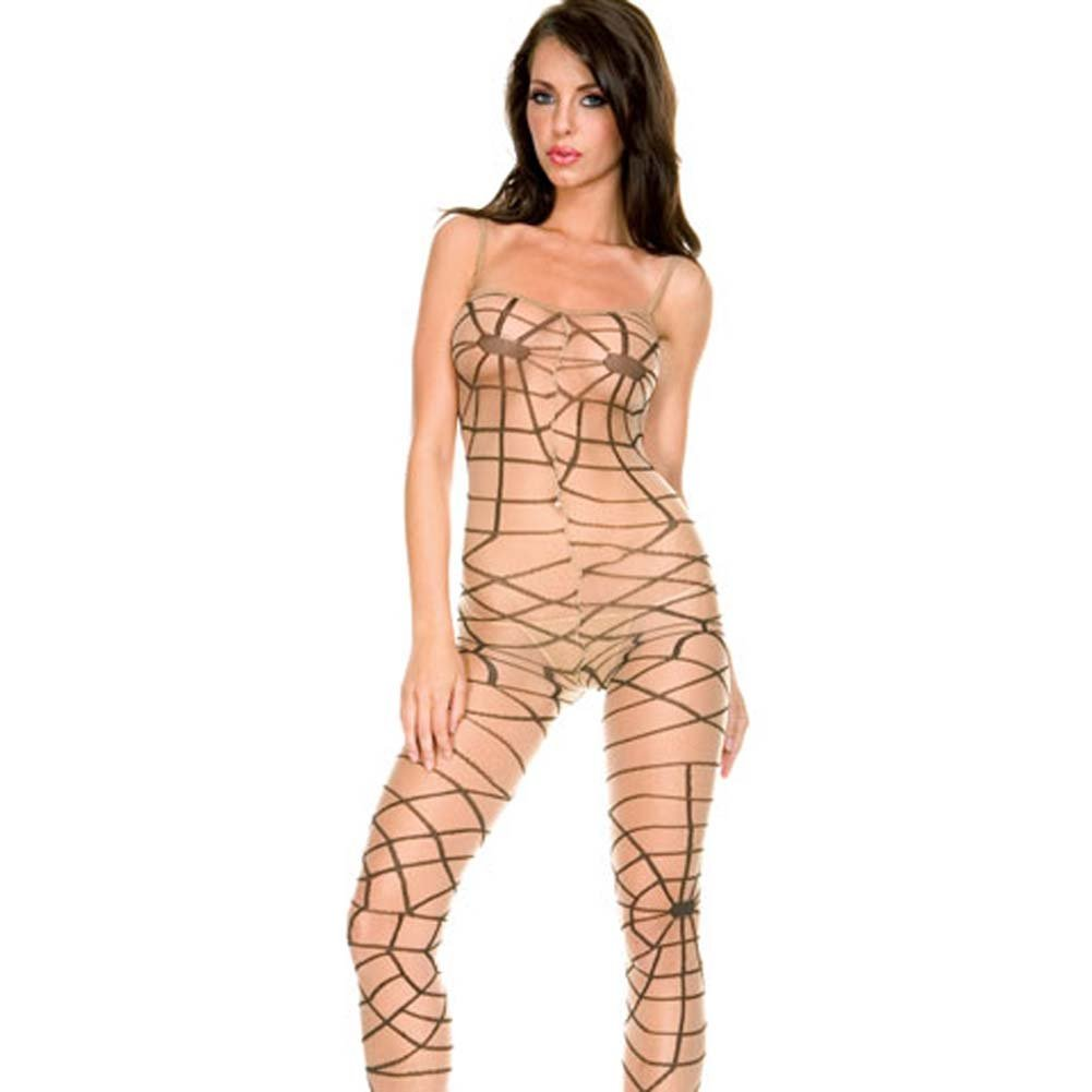 Sheer Spider Web Bodystocking with Open Crotch Beige - View #2