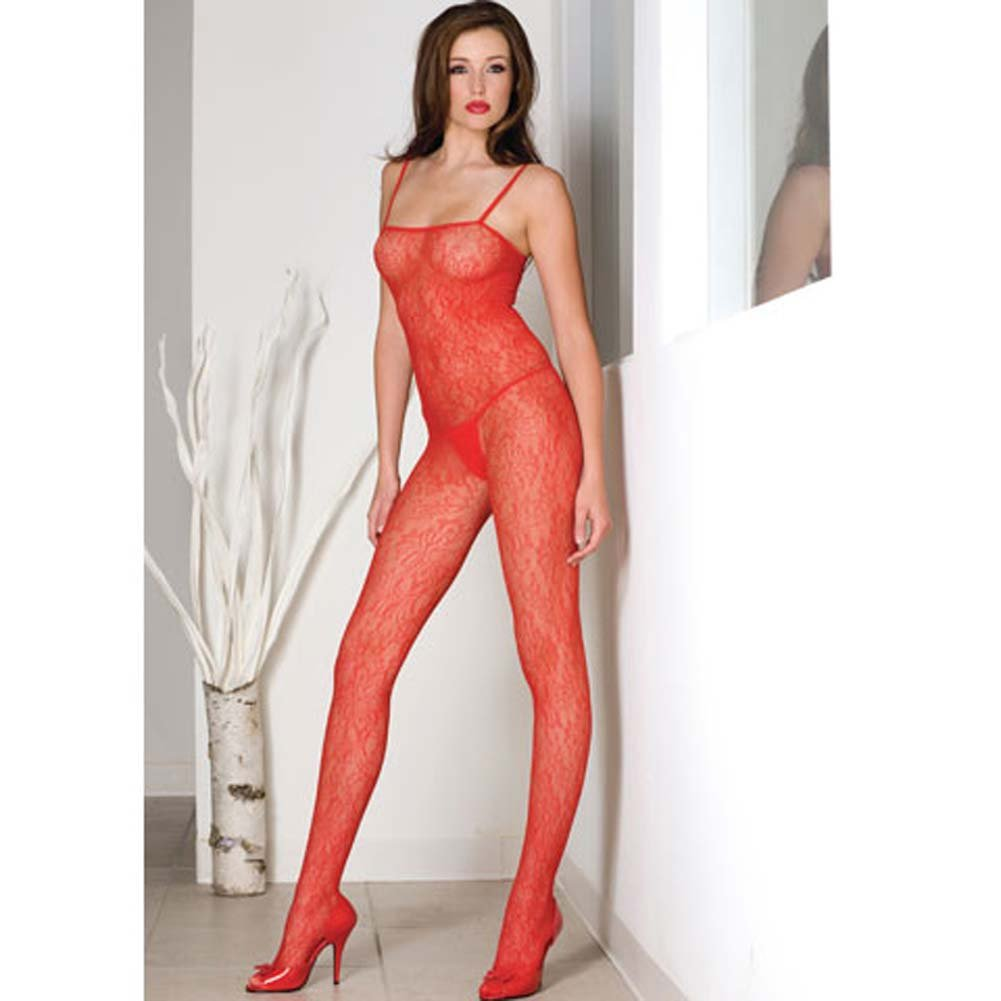Seamless Spanish Lace Bodystocking Red - View #1