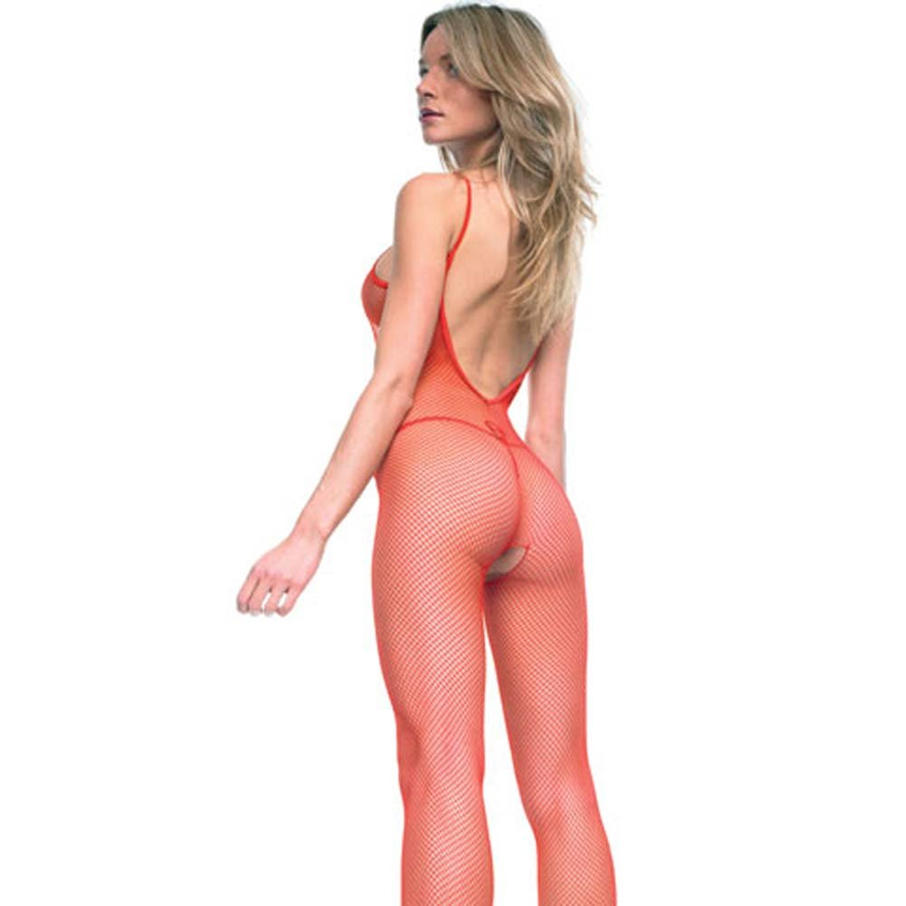 Seamless V Back Fishnet Crotchless Bodystocking Red - View #2