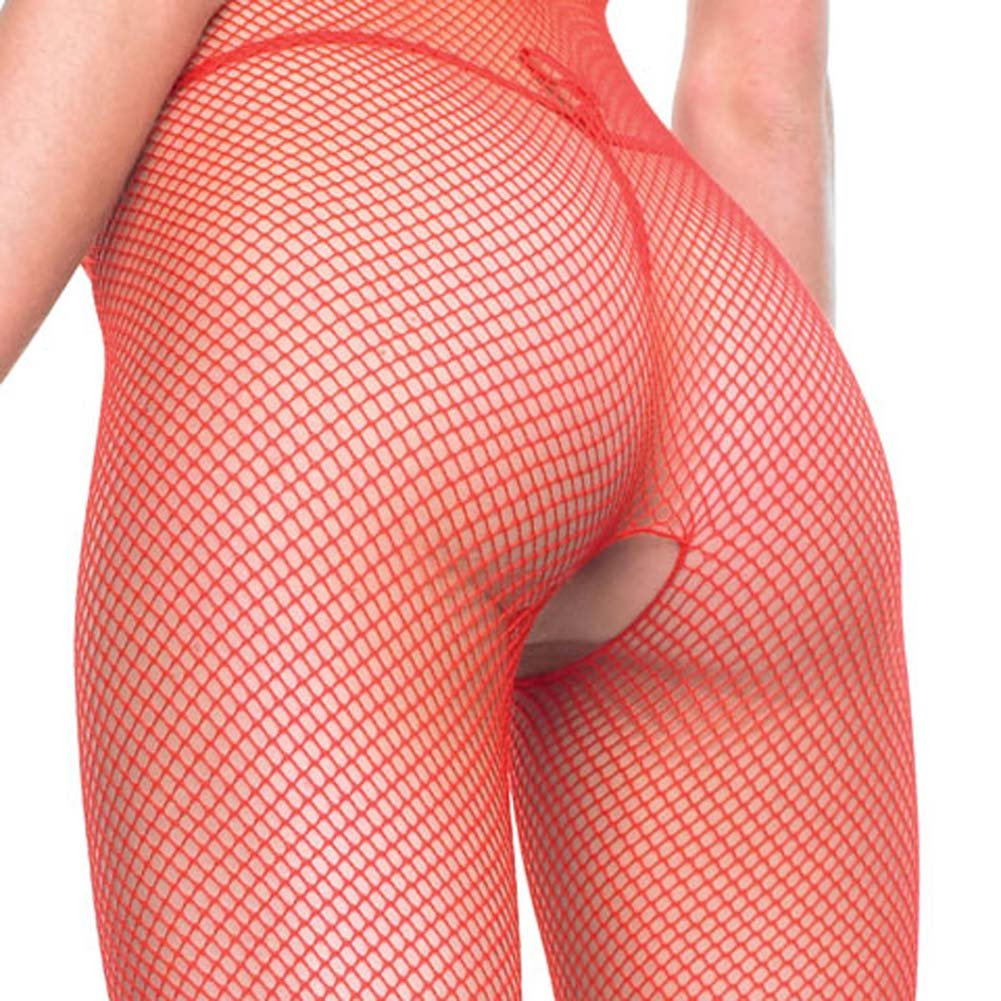Seamless V Back Fishnet Crotchless Bodystocking Red - View #4