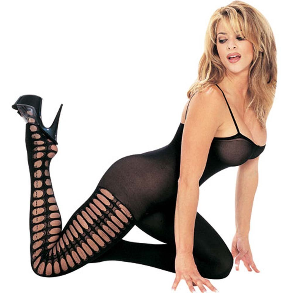 Opaque Side Crochet Bodystocking with Open Crotch Black - View #2