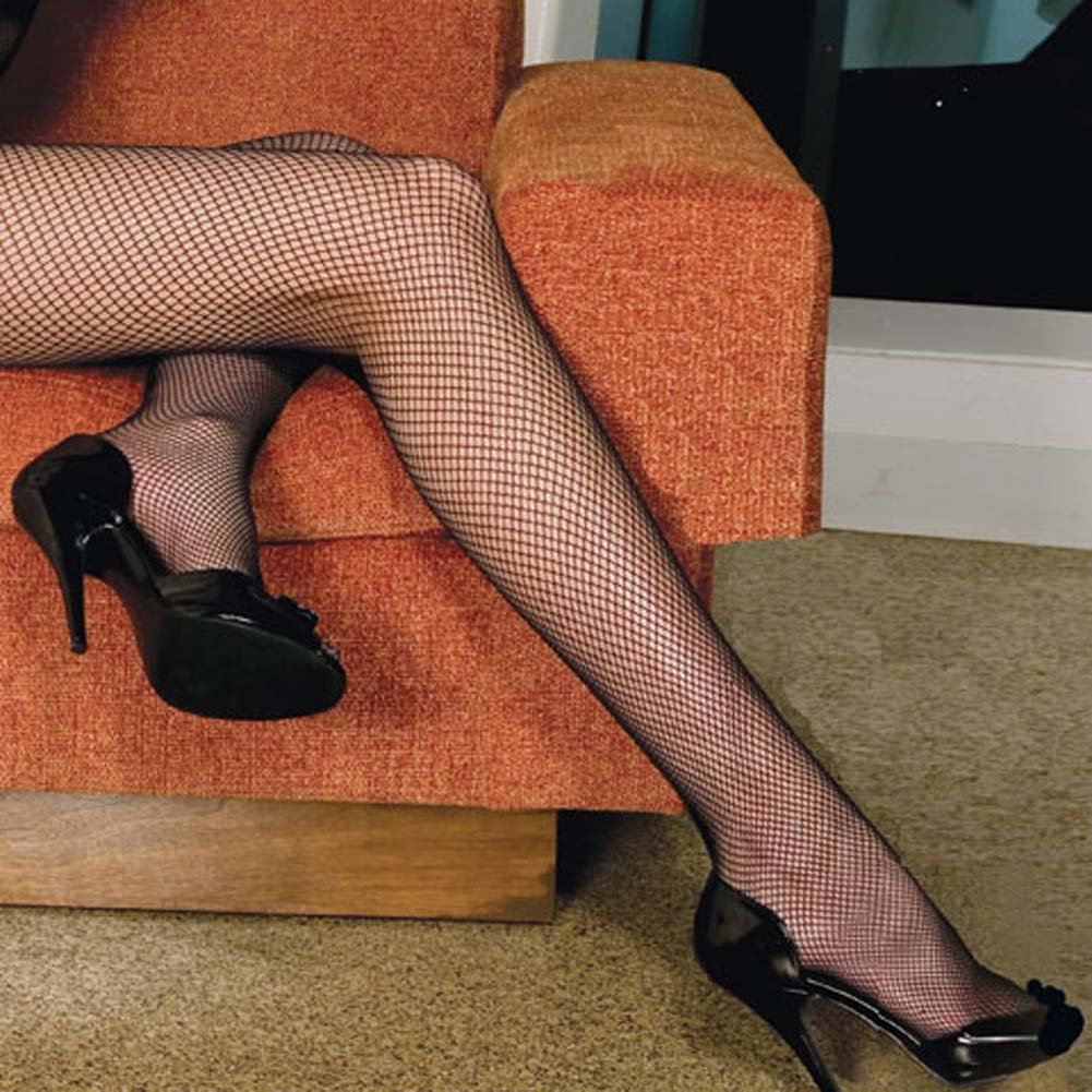 V Back Long Sleeved Fishnet Crotchless Bodystocking Black - View #3