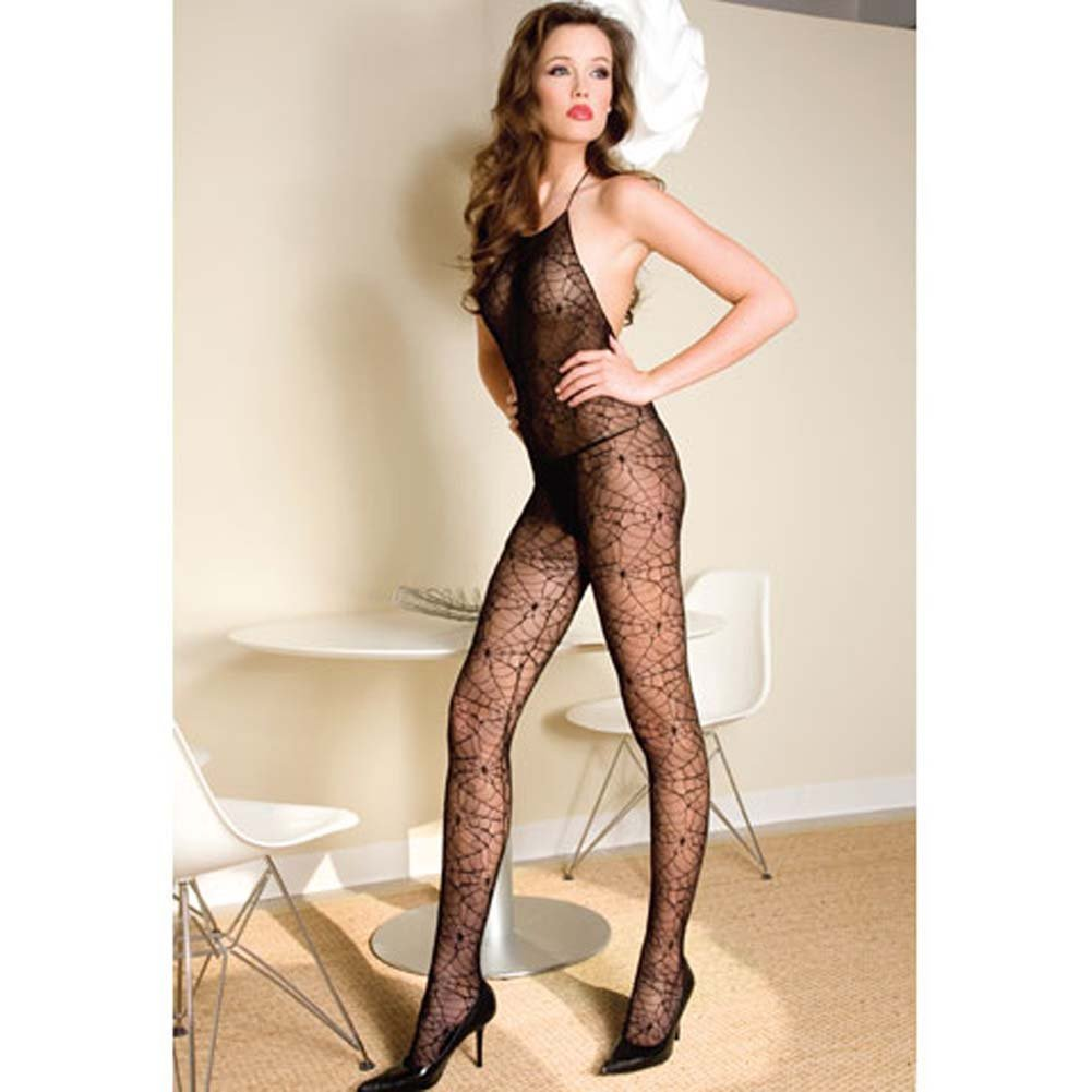 Spider Web Halter Bodystocking with Open Back Black - View #2
