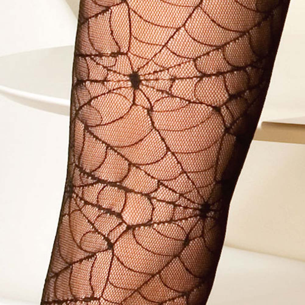 Spider Web Halter Bodystocking with Open Back Black - View #4