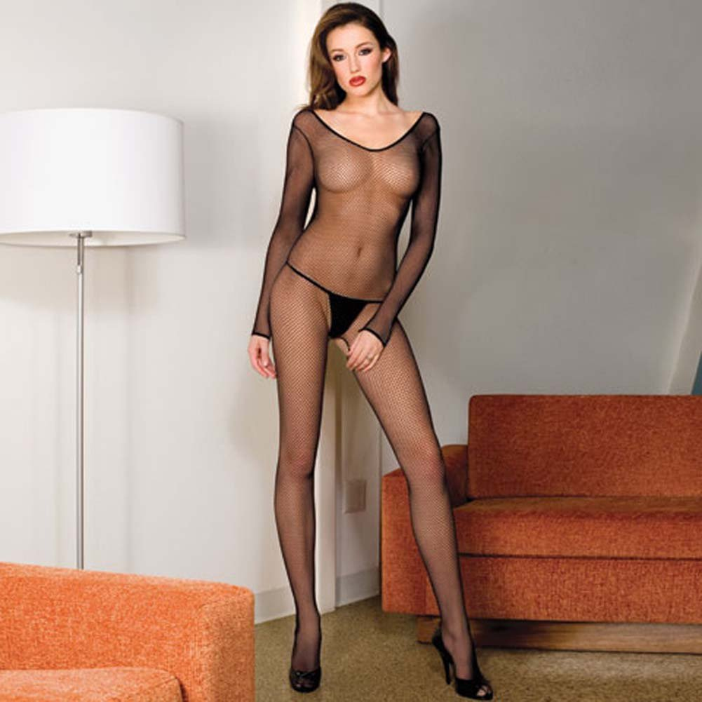 Seamless Fishnet Scoop Neck Long Sleeved Bodystocking Black - View #1