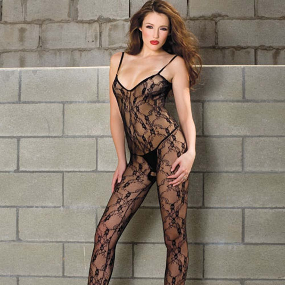 Vine Lace Bodystocking with Open Crotch Black - View #2