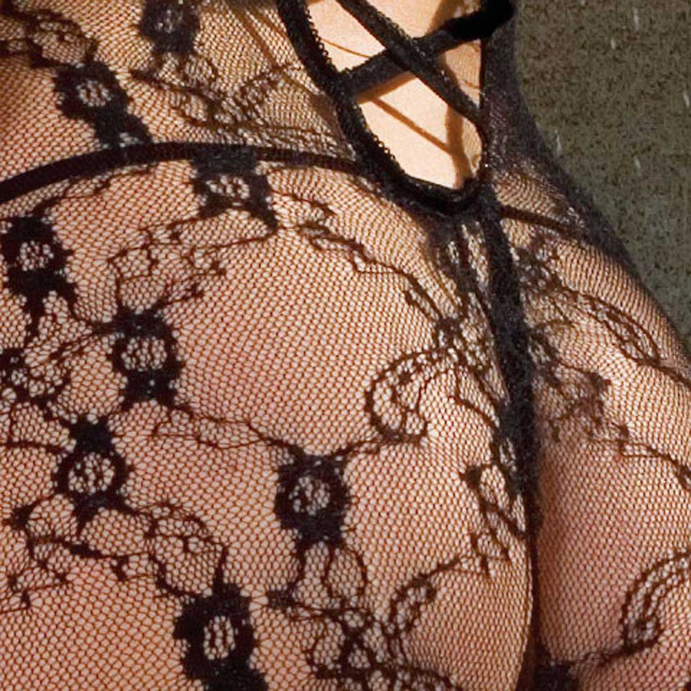 Vine Lace Bodystocking with Open Crotch Black - View #4