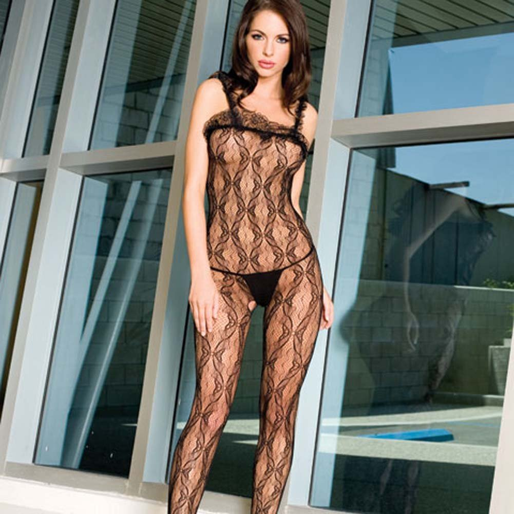 Seamless Bow Lace Crotchless Bodystocking Black - View #2