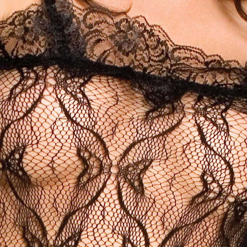 Seamless Bow Lace Crotchless Bodystocking Black - View #4