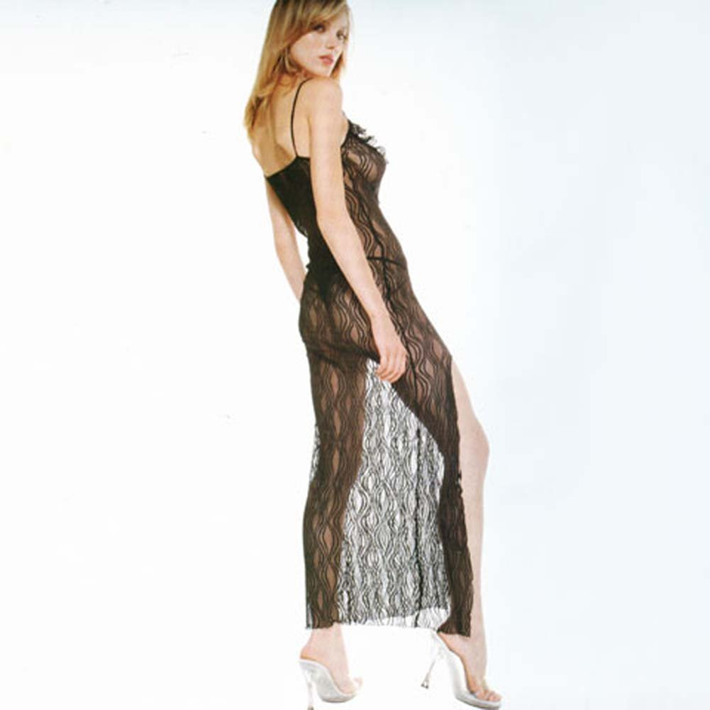 Lace Trim Long Gown with Side Slit and Thong 2 Pc Set Black - View #2