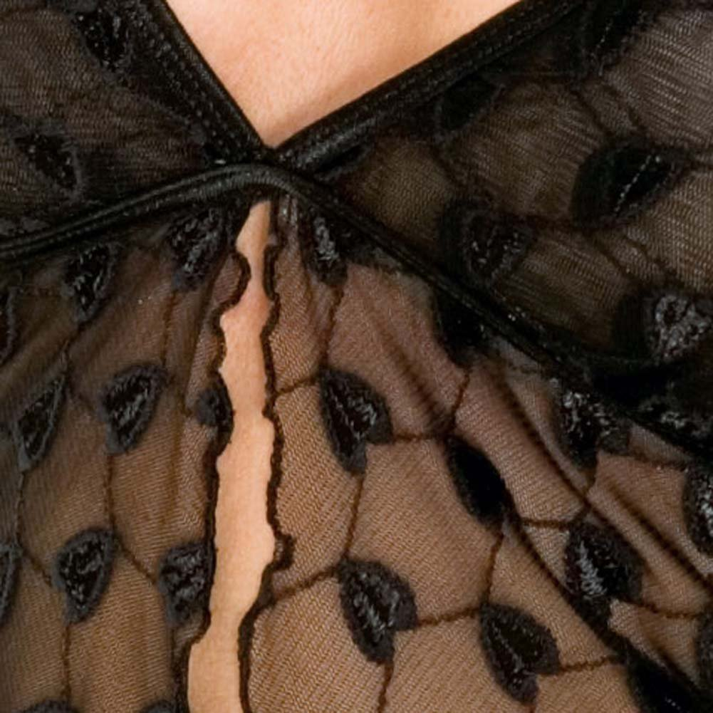 Sheer Hearts Bra Babydoll with Centre Slits and Thong Black - View #4