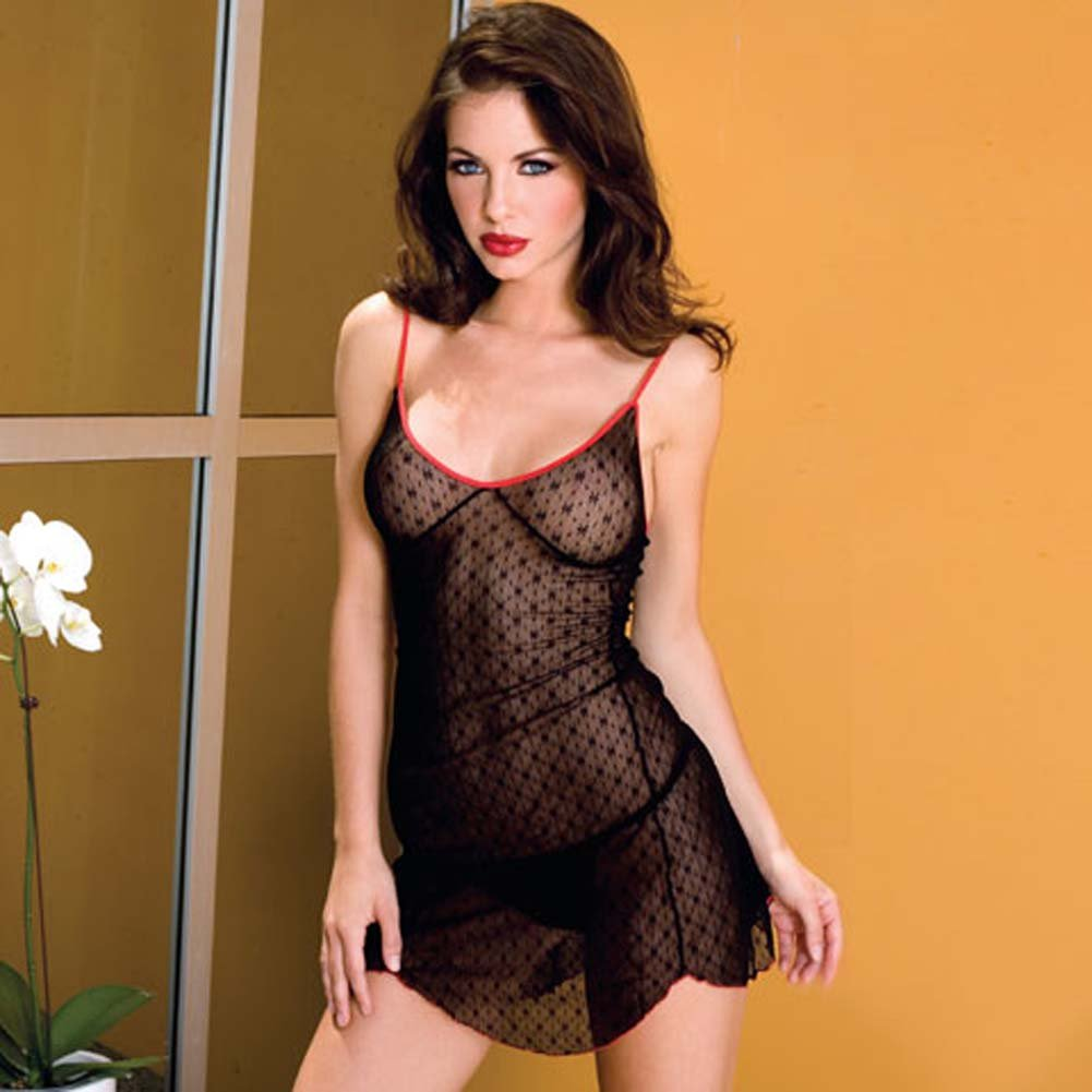 Daisy Lace Black Chemise with Contrast Red Color Trim - View #2