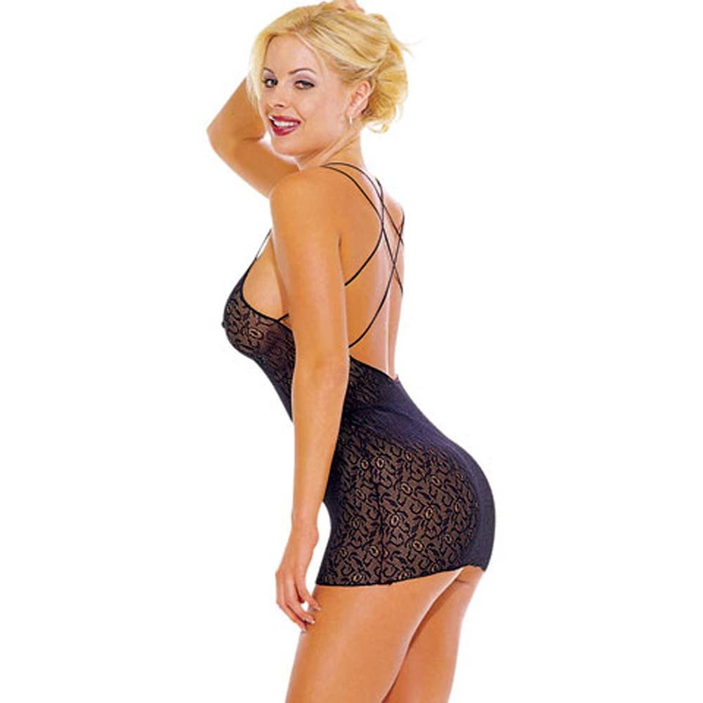 Lace Chemise with Double X Back Straps Black - View #1