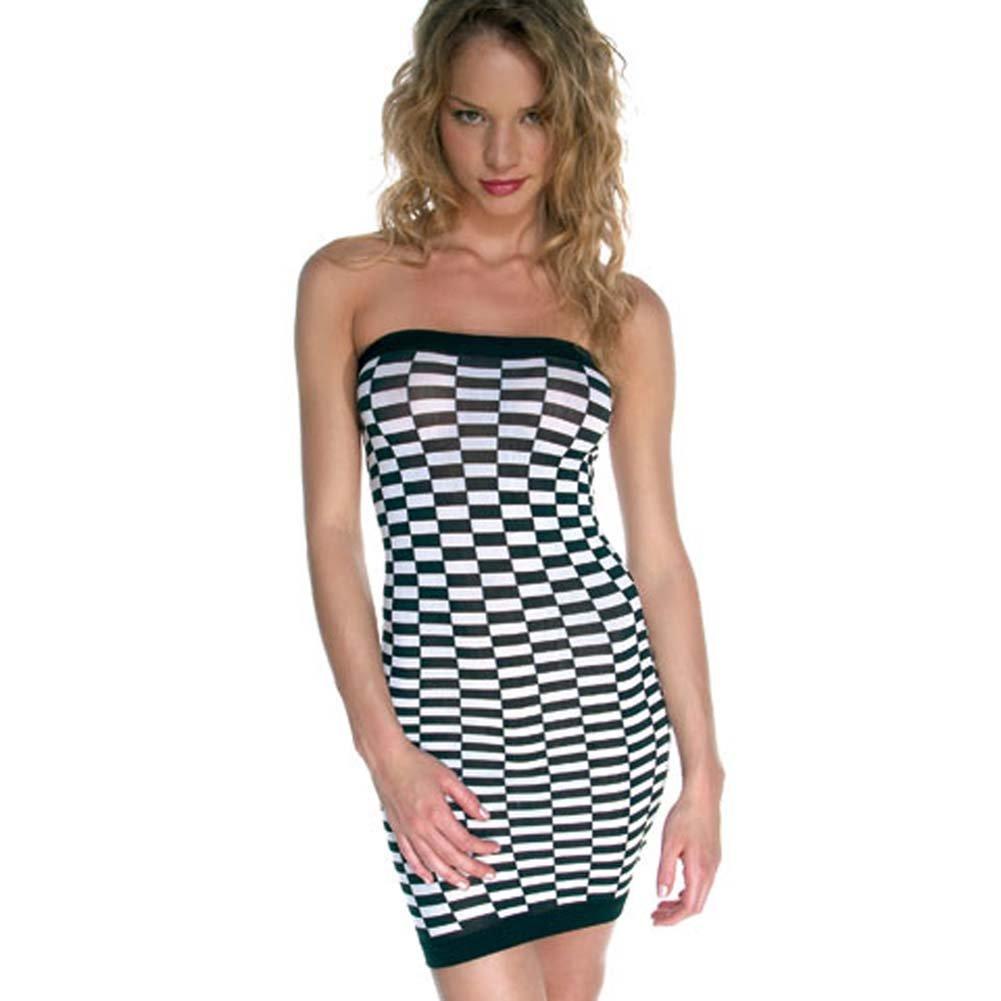 Checker Tube Mini Dress Black and White - View #2