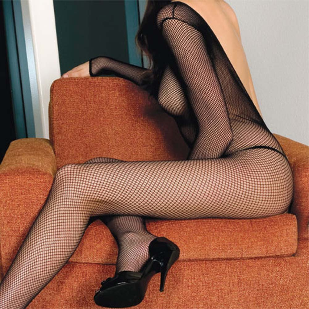V Back Long Sleeve Fishnet Bodystocking Black Plus Size - View #2