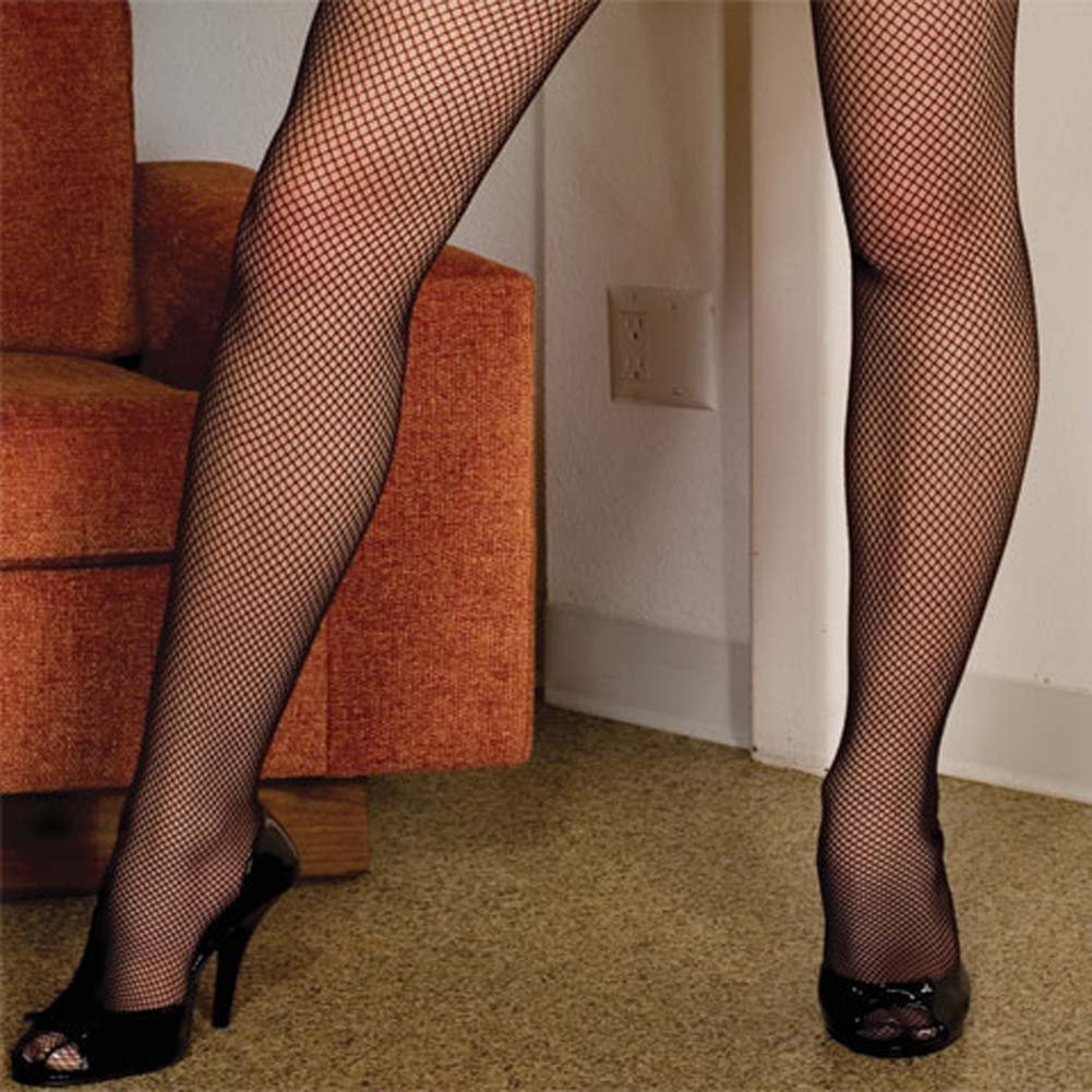 Seamless Fishnet Scoop Neck Long Sleeved Bodystocking Plus - View #3