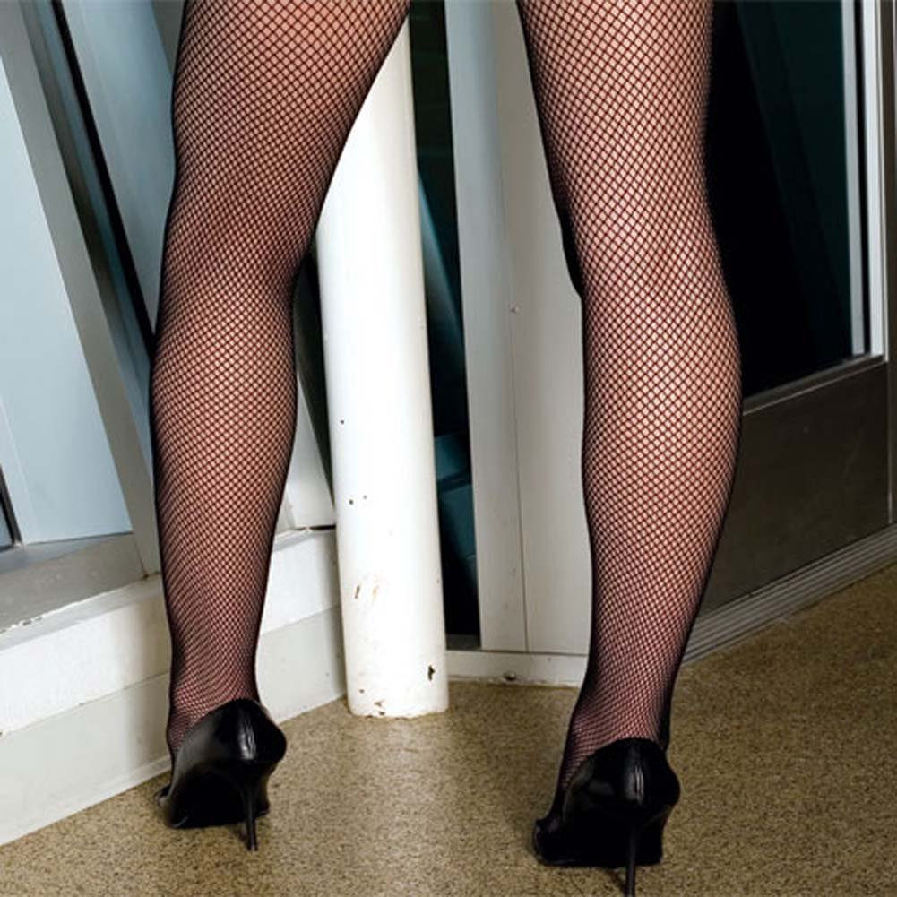 Seamless Fishnet Bodystocking with Criss Cross Back Plus - View #3