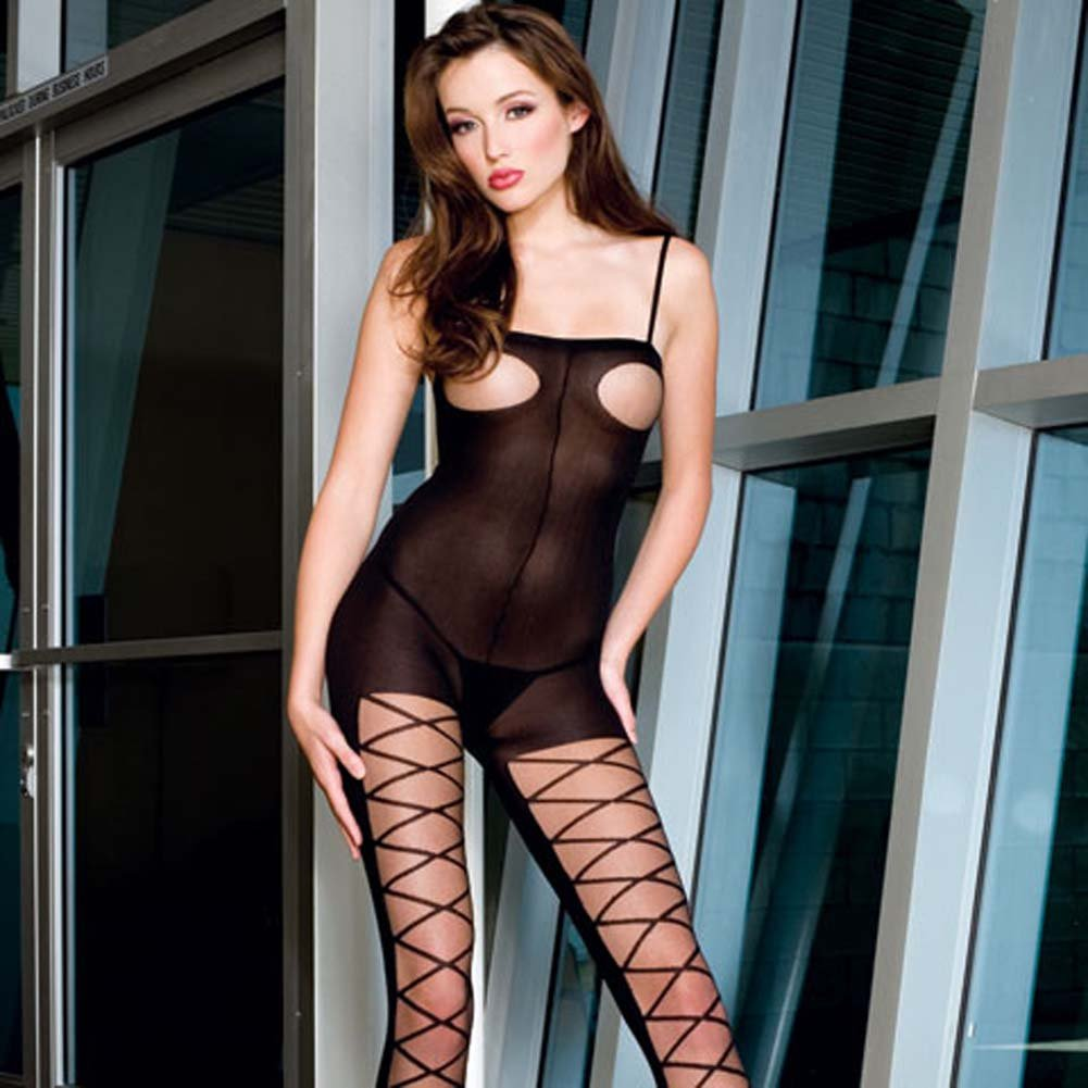 Opaque Open Bust Criss Cross Bodystocking with Open Crotch - View #2