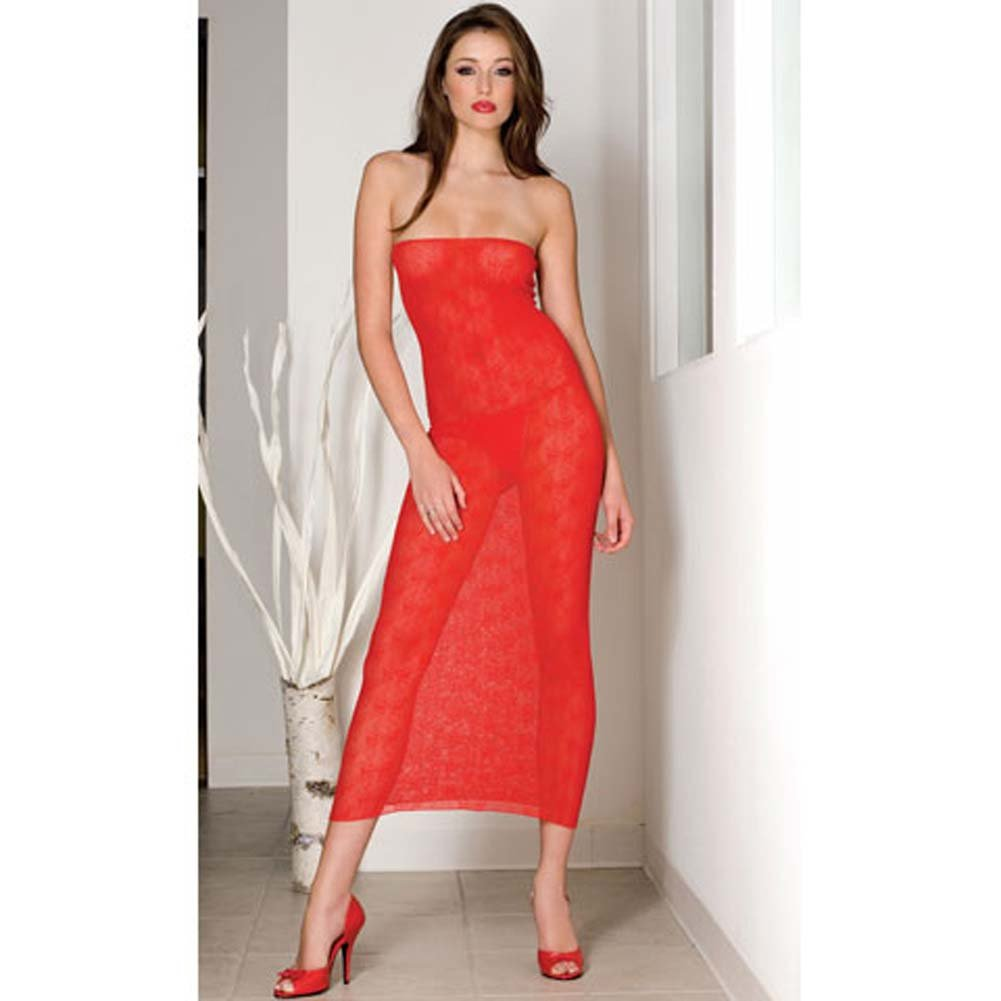 Seamless Bow Lace Tube Gown Red - View #1