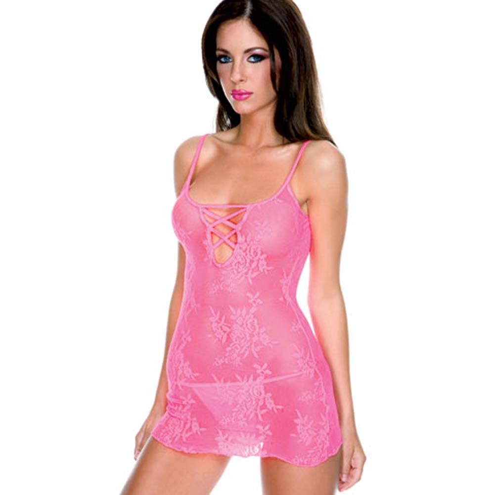 Stretch Lace Mini with Criss Cross and Thong Set Hot Pink - View #2