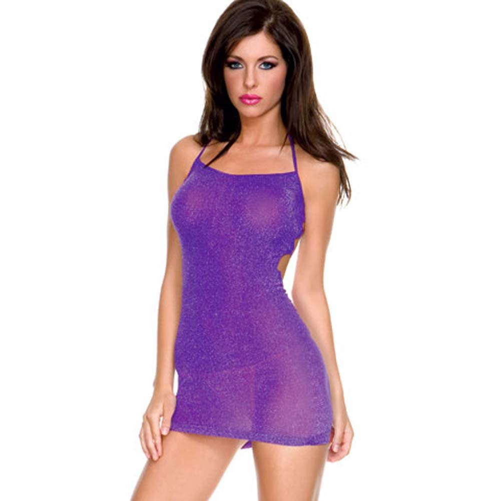 Lurex Bare Back Mini with Triple Straps Purple - View #2