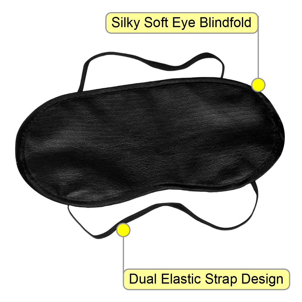 Satin Love Double Strap Blindfold Eye Mask Mystic Black - View #1