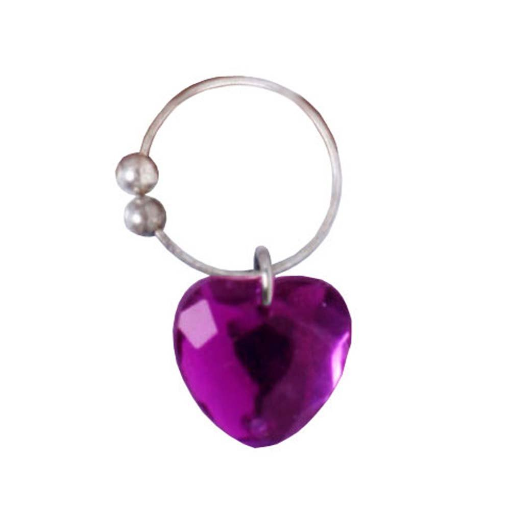 Navel Novelties Belly Button Ring with Purple Heart Dangle - View #2