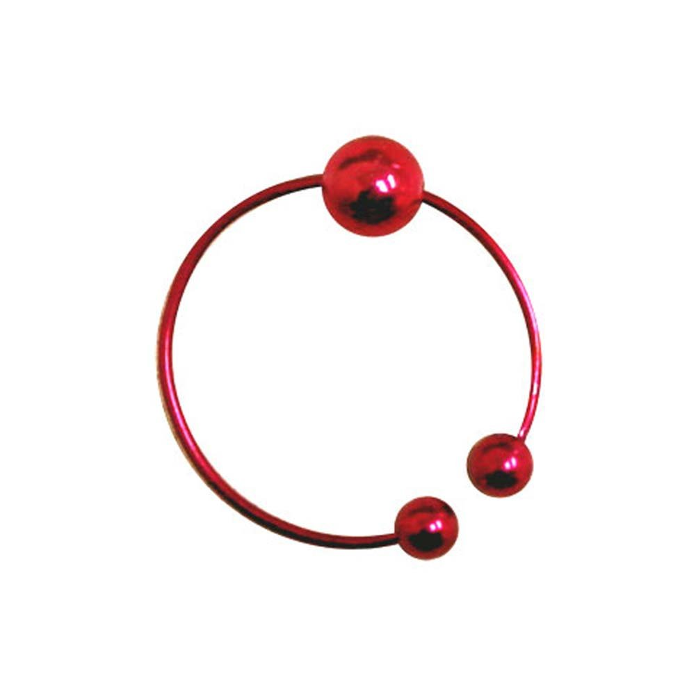 Non Pircing Belly Button Ring with Swinging Ball Red - View #2