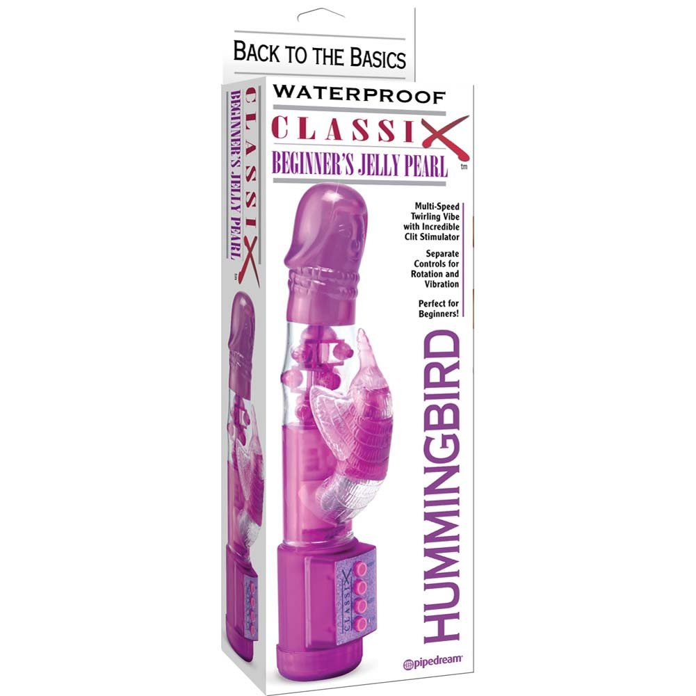"Waterproof Classix Beginners Jelly Pearl Hummingbird Female Vibrator 10"" Purple - View #4"